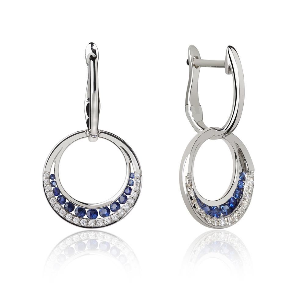 18ct White Gold Circle Sapphire and Diamond Drop Earrings Image 1