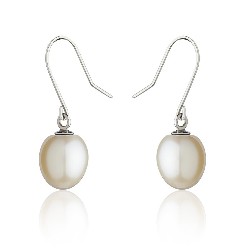 18ct White Gold White Pearl Drop Earrings Image 1