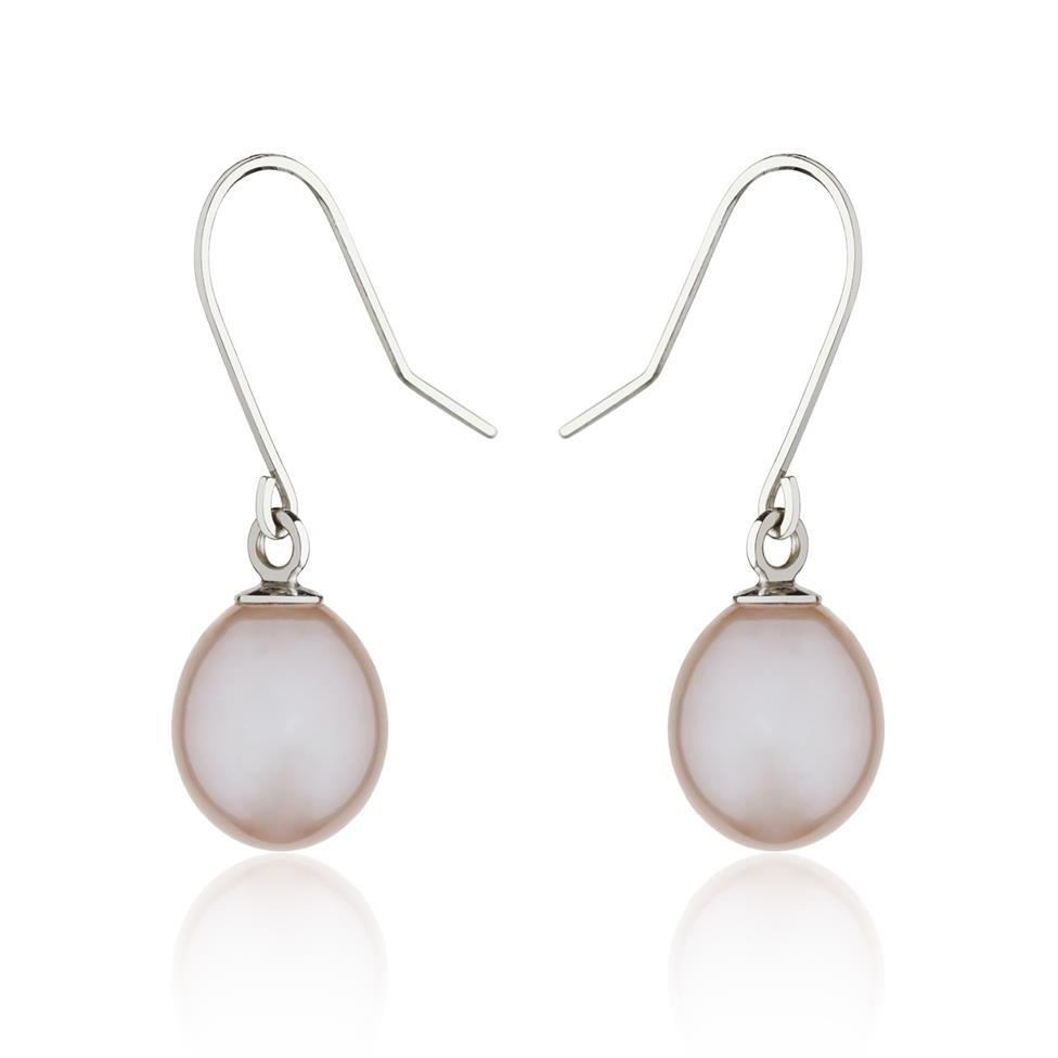 18ct White Gold Pink Pearl Drop Earrings Image 1