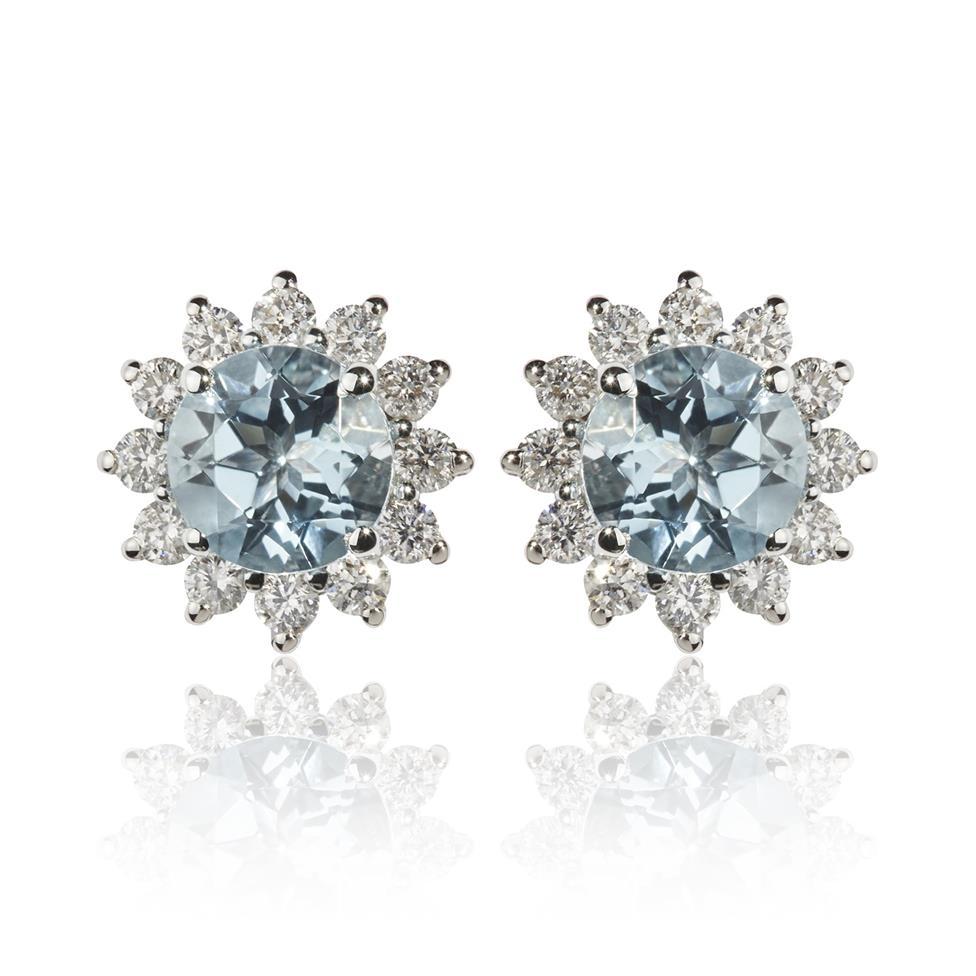18ct White Gold Aquamarine and Diamond Cluster Stud Earrings Thumbnail Image 0