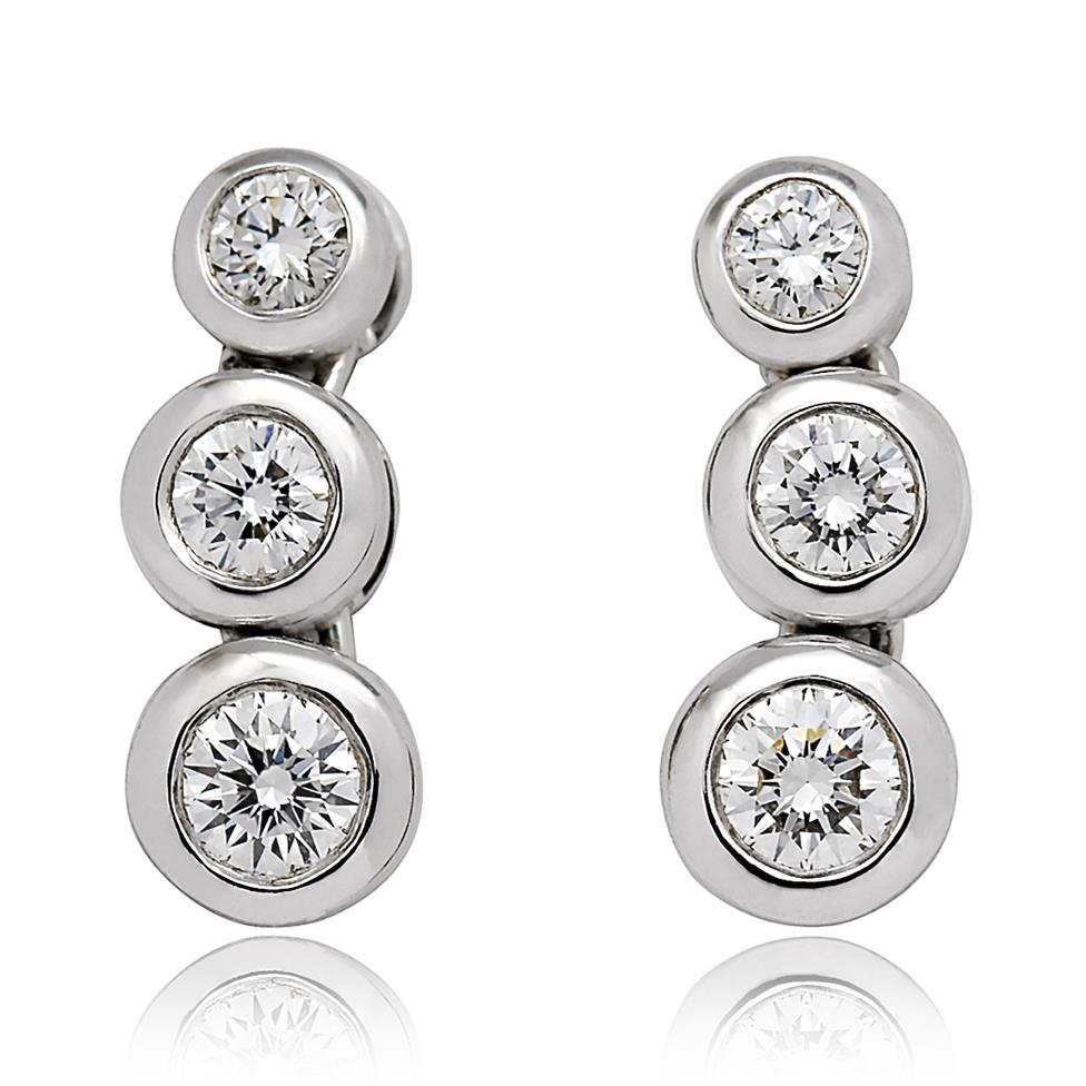 18ct White Gold Diamond Drop Earrings 0.60ct Thumbnail Image 0