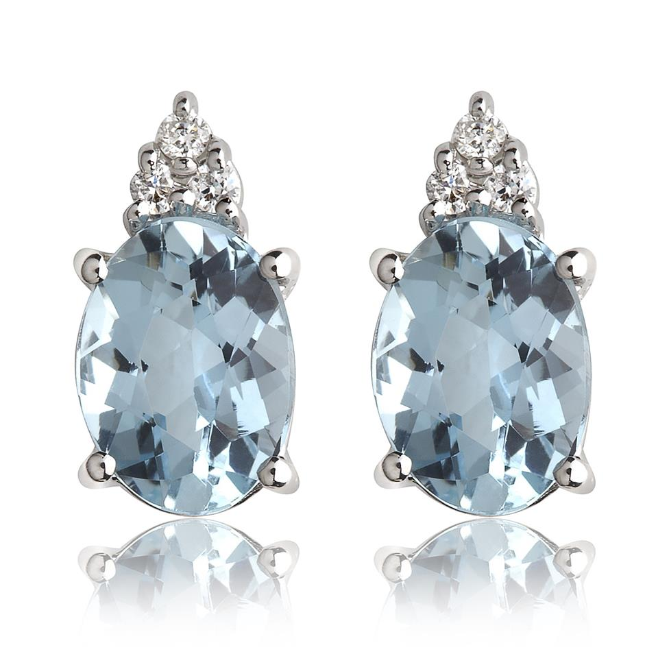 18ct White Gold Oval Aquamarine and Diamond Stud Earrings Thumbnail Image 0