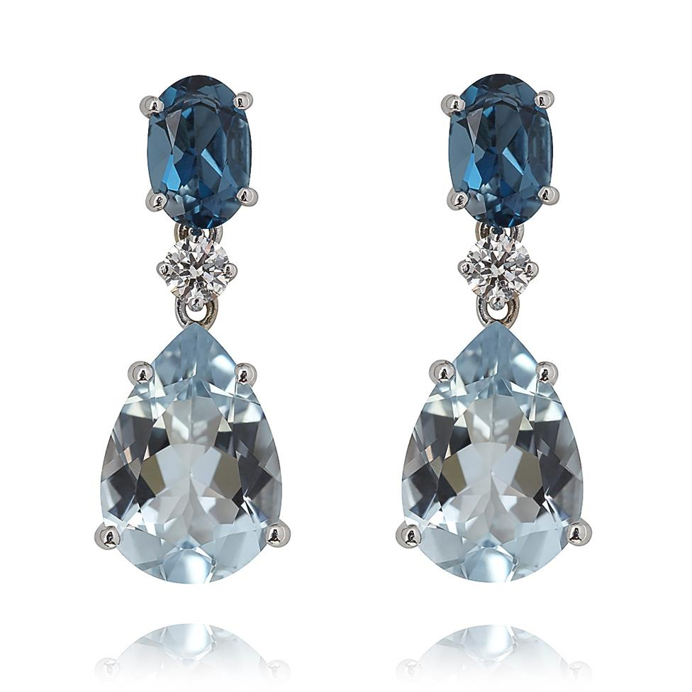 Sweet Pea 18ct White Gold  Blue Topaz and Aquamarine Drop Earrings Thumbnail Image 0