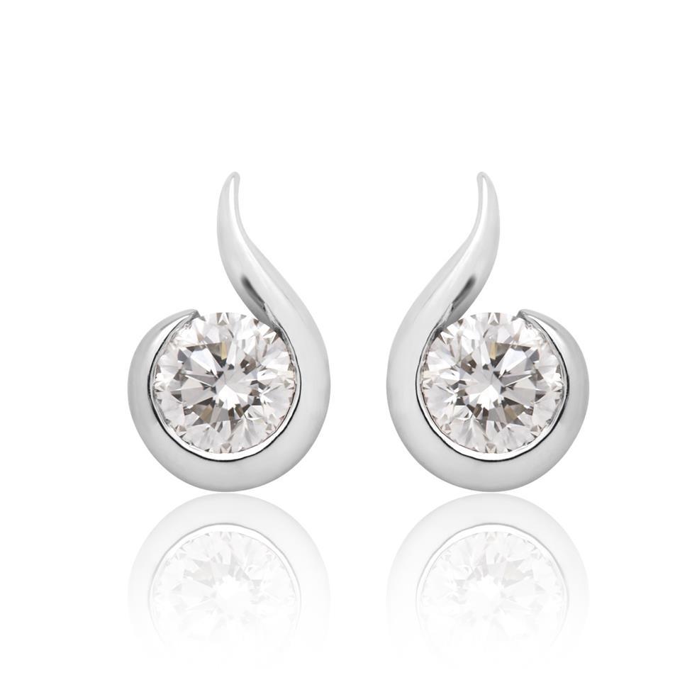 18ct White Gold Swirl Design Diamond Stud Earrings Thumbnail Image 0
