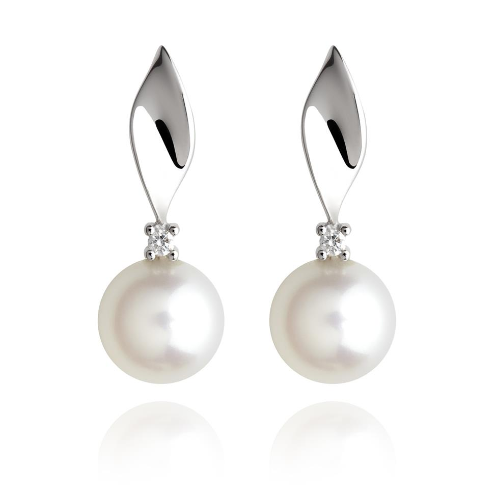 18ct White Gold Freshwater Pearl and Diamond Drop Earrings Thumbnail Image 0