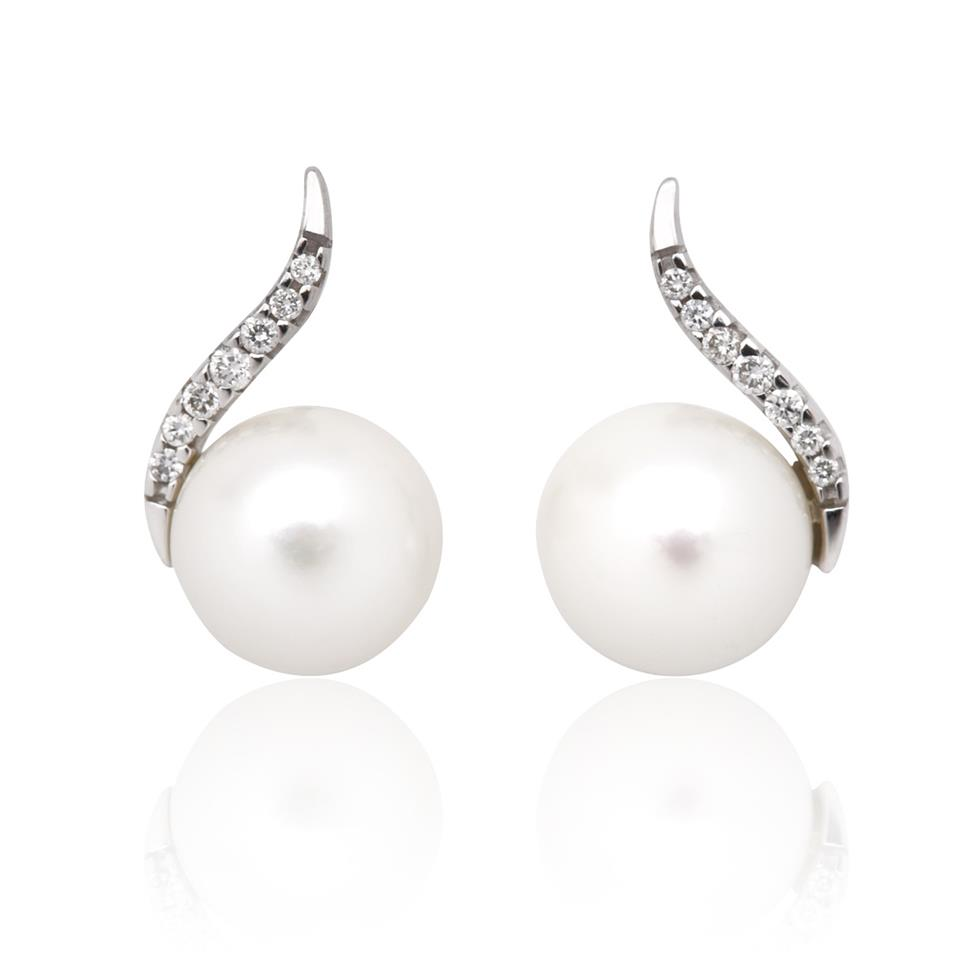 18ct White Gold Freshwater Pearl and Diamond Stud Earrings Thumbnail Image 0