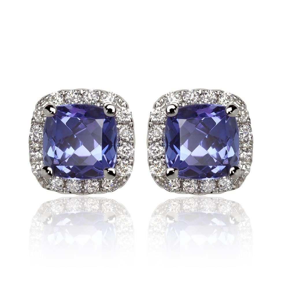 18ct White Gold Tanzanite and Diamond Halo Stud Earrings Thumbnail Image 0