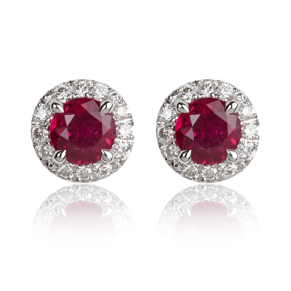 Camellia 18ct White Gold Ruby and Diamond Earrings Thumbnail Image 0