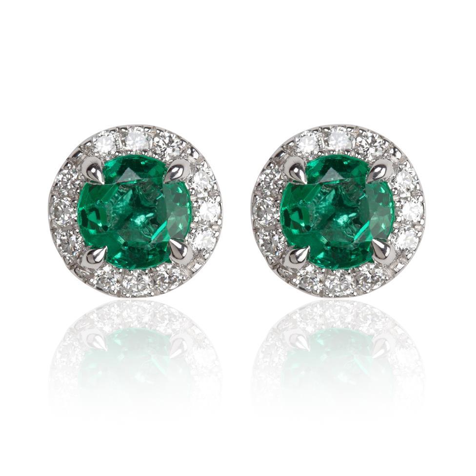 Camellia 18ct White Gold Emerald and Diamond Halo Stud Earrings Thumbnail Image 0