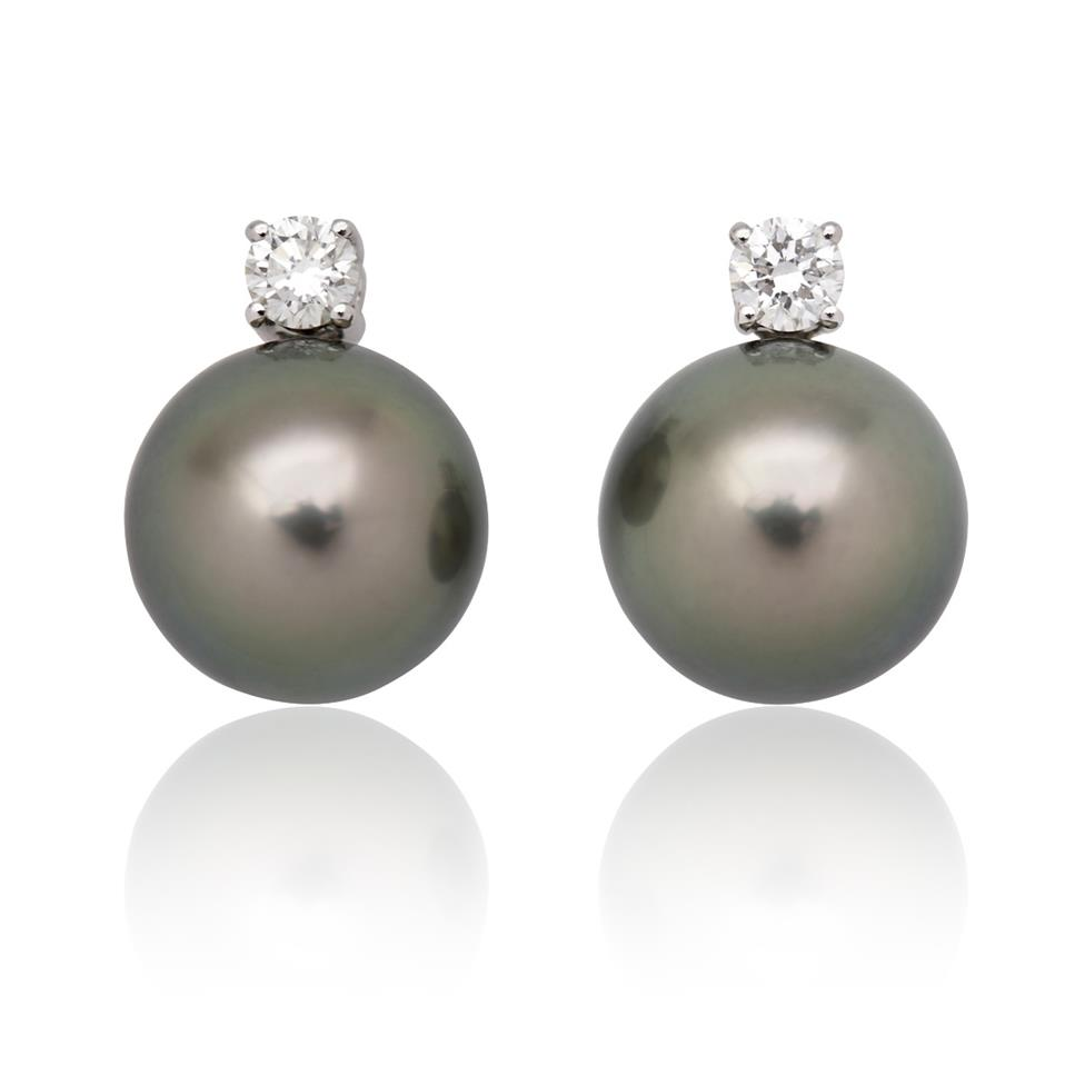 18ct White Gold Tahitian Pearl and Diamond Stud Earrings Thumbnail Image 0
