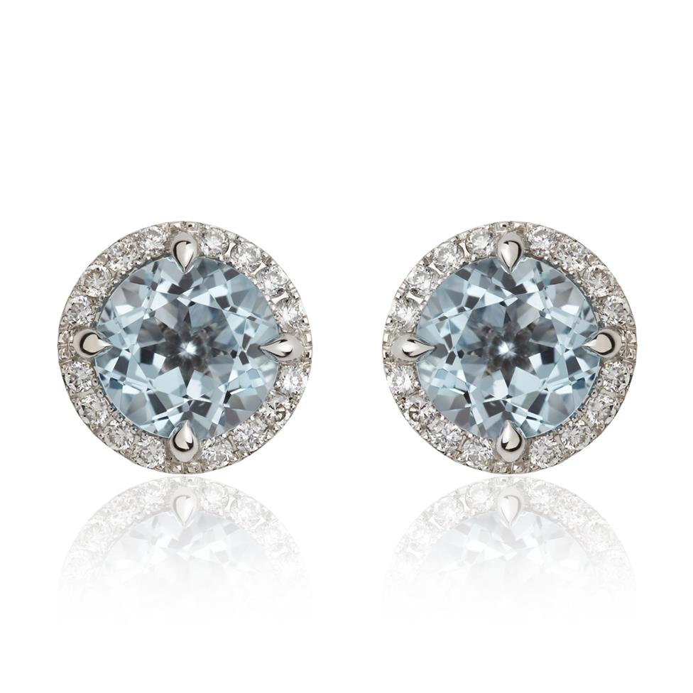 Camellia 18ct White Gold Blue Topaz and Diamond Earrings Image 1