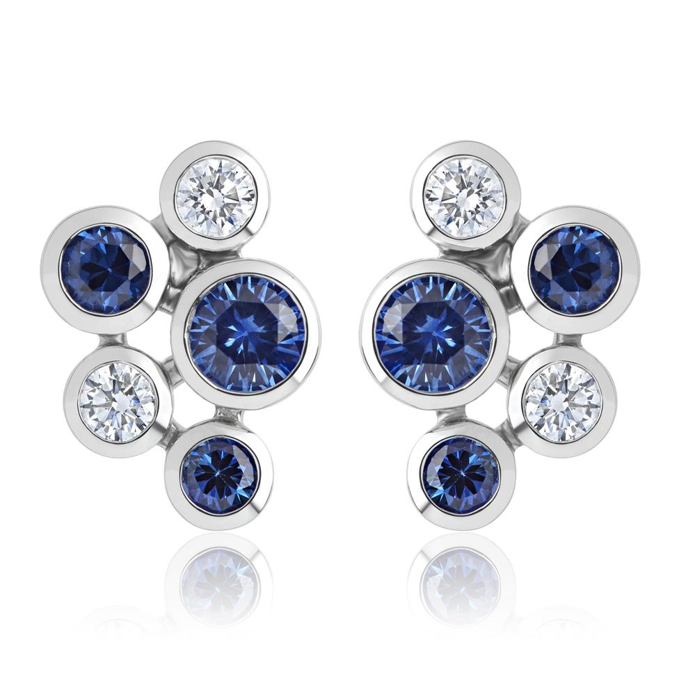 Alchemy 18ct White Gold Sapphire and Diamond Stud Earrings Image 1