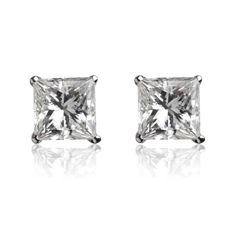 18ct White Gold Princess Cut Diamond Solitaire Stud Earrings 0.20ct Thumbnail Image 0