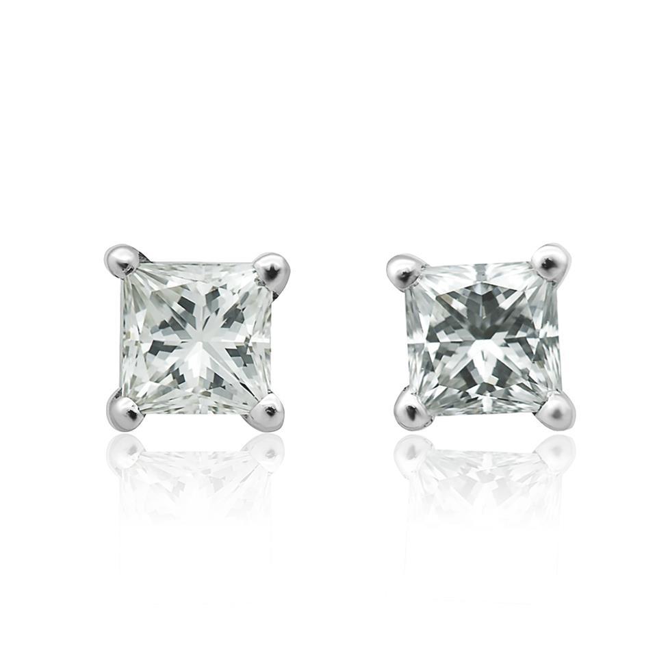 18ct White Gold Princess Cut Diamond Solitaire Stud Earrings 0.50ct Thumbnail Image 0