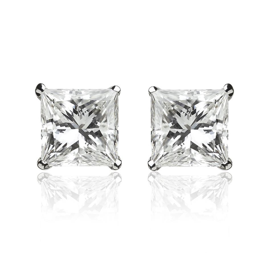18ct White Gold Princess Cut 0.80ct Diamond Solitaire Stud Earrings Image 1