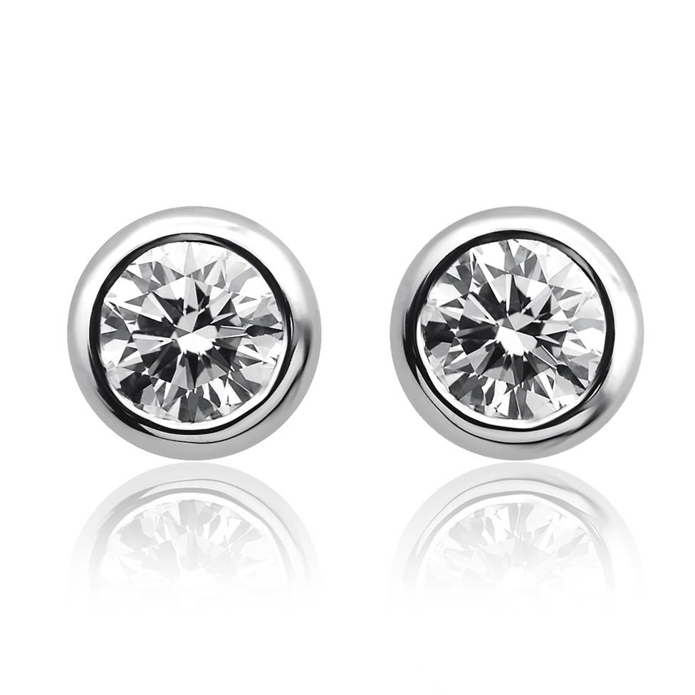 18ct White Gold Diamond Solitaire Stud Earrings 0.50ct Thumbnail Image 0