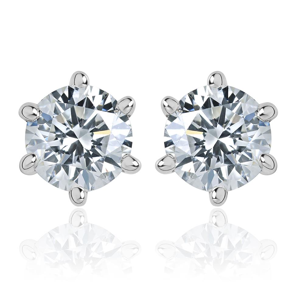 18ct White Gold Diamond Solitaire Stud Earrings 0.70ct Thumbnail Image 0