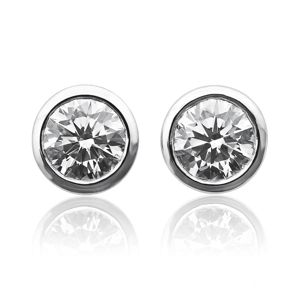 18ct White Gold Rubover 0.40ct Diamond Solitaire Stud Earrings Thumbnail Image 0