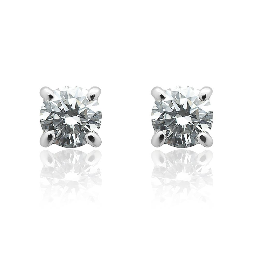 18ct White Gold Classic Design Diamond Solitaire Stud Earrings 0.50ct Thumbnail Image 0