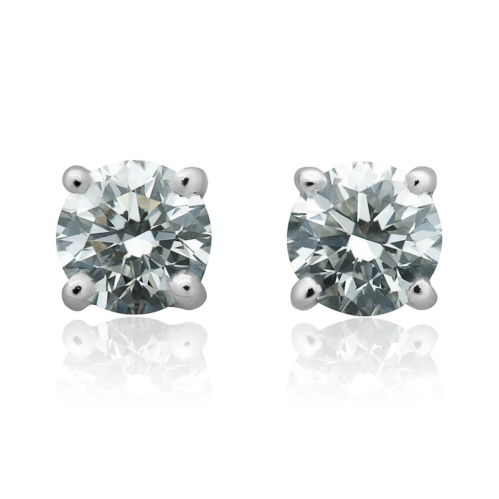 18ct White Gold Classic Design Diamond Solitaire Stud Earrings 0.90ct Thumbnail Image 0