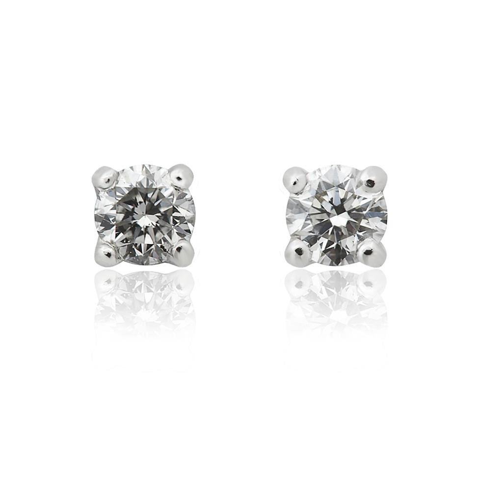 18ct White Gold Classic Design Diamond Solitaire Stud Earrings 0.42ct Thumbnail Image 0