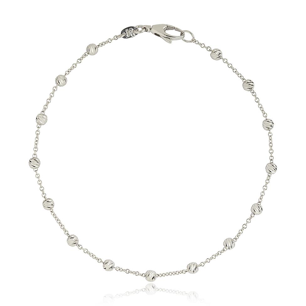 18ct White Gold Faceted Bead Detail Station Bracelet  Thumbnail Image 0
