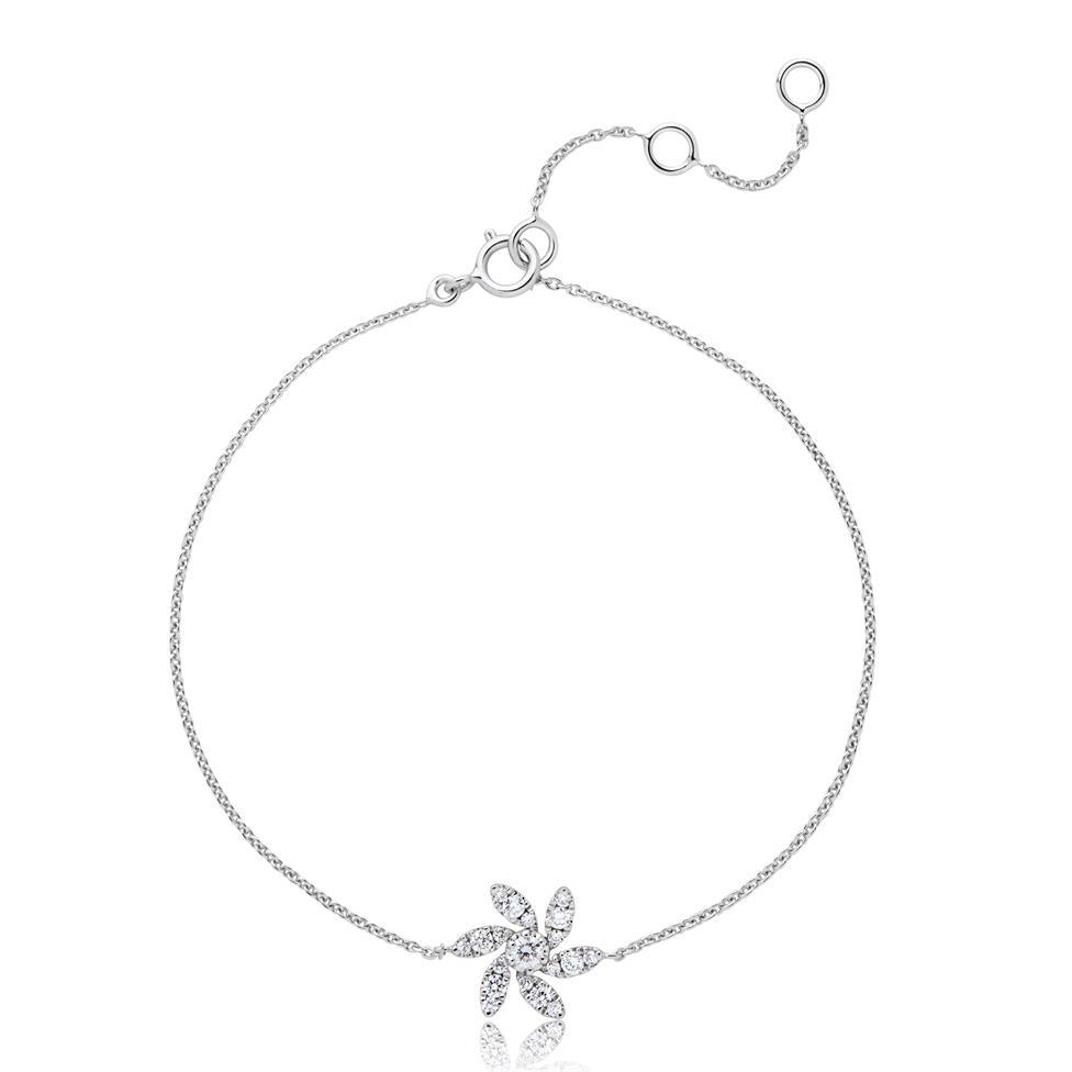 18ct White Gold Flower Design Diamond Bracelet 0.20ct Thumbnail Image 0