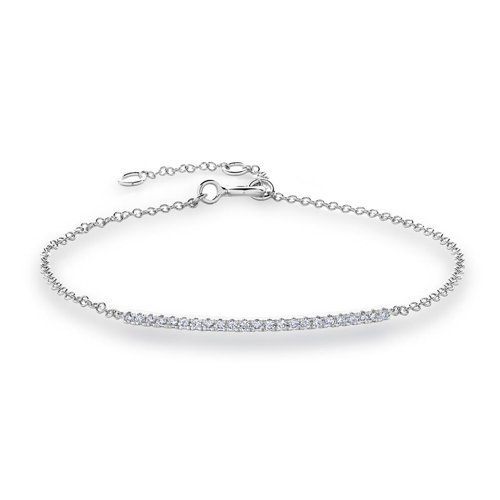 18ct White Gold Diamond Bar Bracelet Image 1