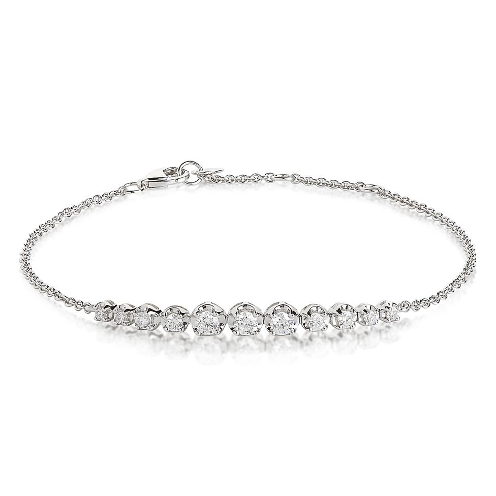 18ct White Gold Graduated Diamond Bracelet Image 1
