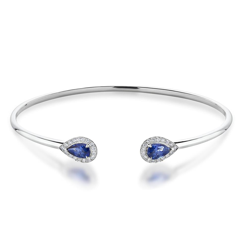 18ct White Gold Pear Shape Sapphire and Diamond Open Bangle Thumbnail Image 0