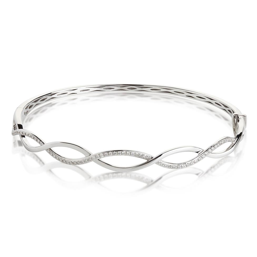 18ct White Gold Plait Design Diamond Bangle 0.34ct Thumbnail Image 0