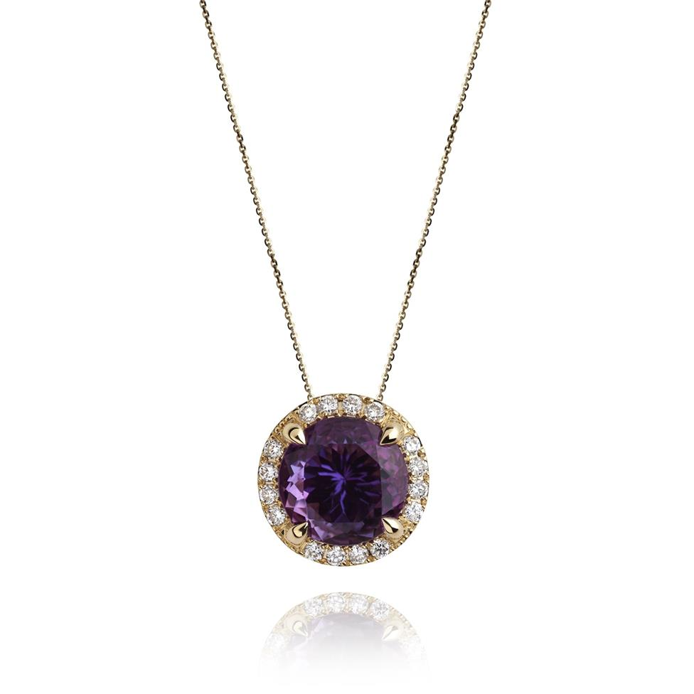 Camellia 18ct Yellow Gold Amethyst and Diamond Halo Pendant Image 1