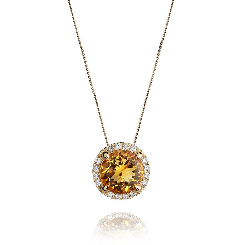 Camellia 18ct Yellow Gold Citrine and Diamond Halo Pendant Thumbnail Image 0