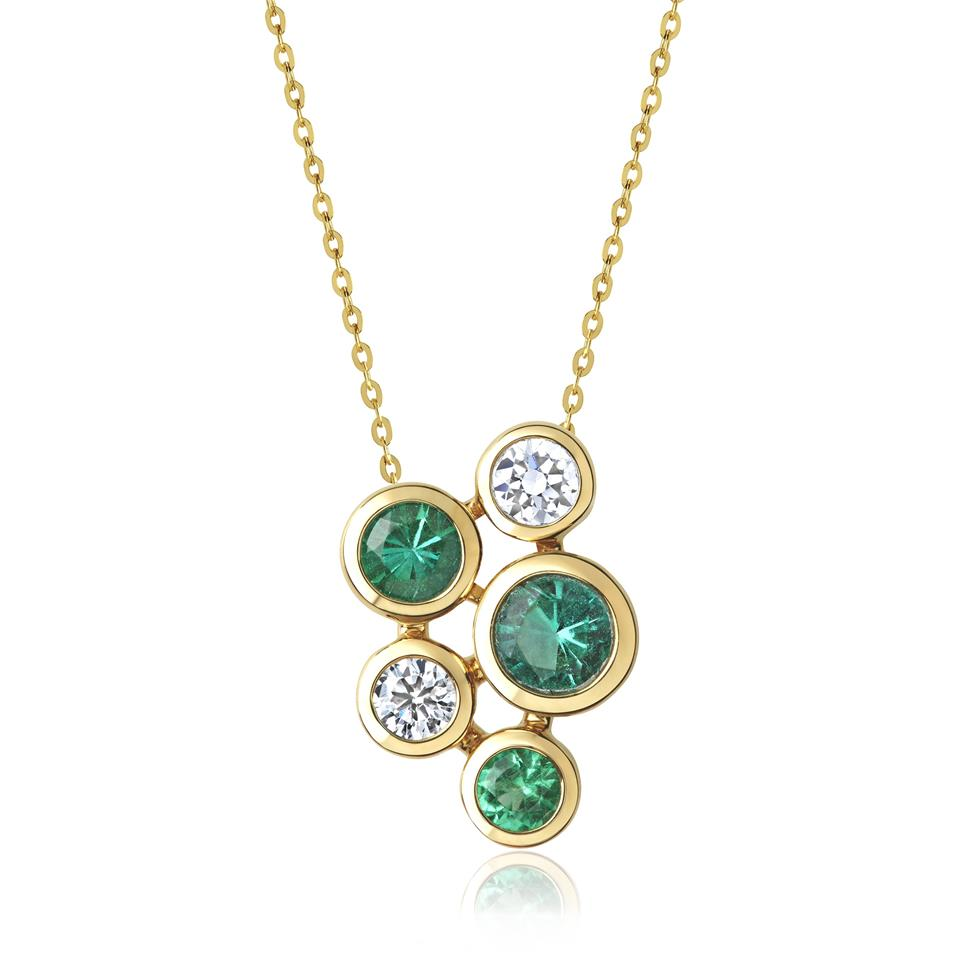 Alchemy 18ct Yellow Gold Emerald and Diamond Pendant - Small Thumbnail Image 0