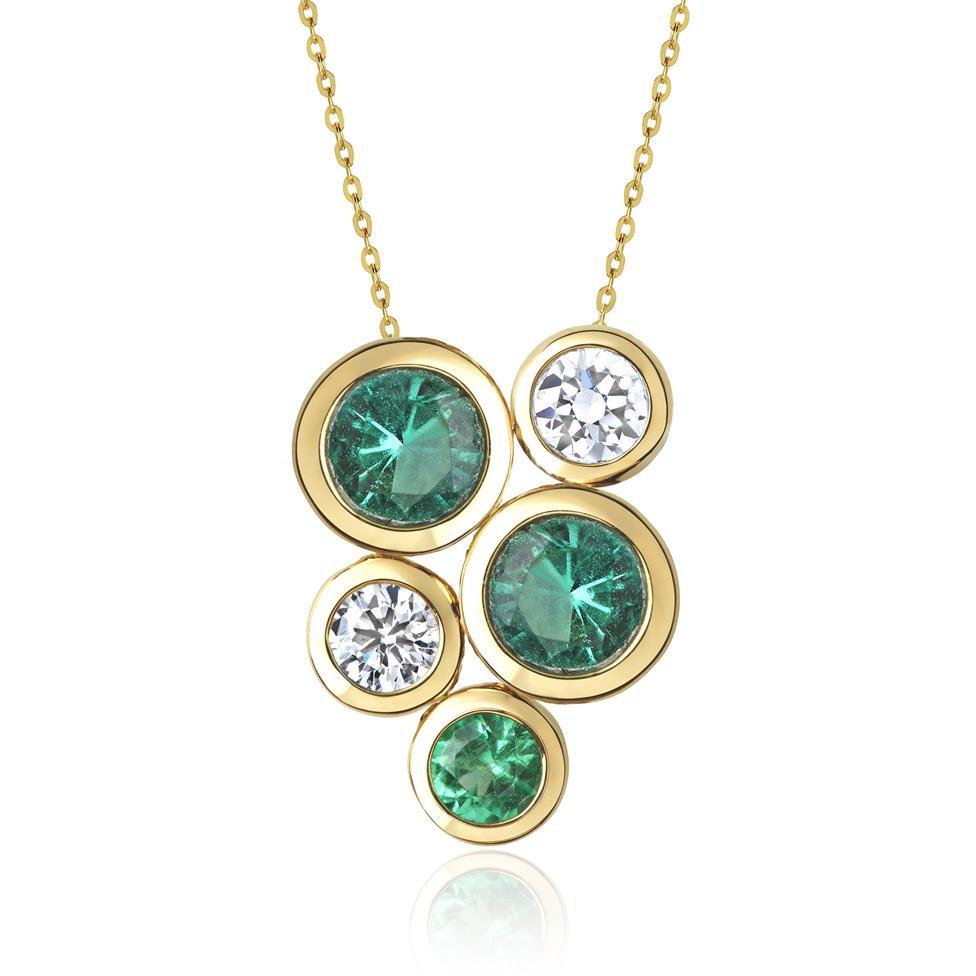 Alchemy 18ct Yellow Gold Emerald and Diamond Pendant - Large Thumbnail Image 0