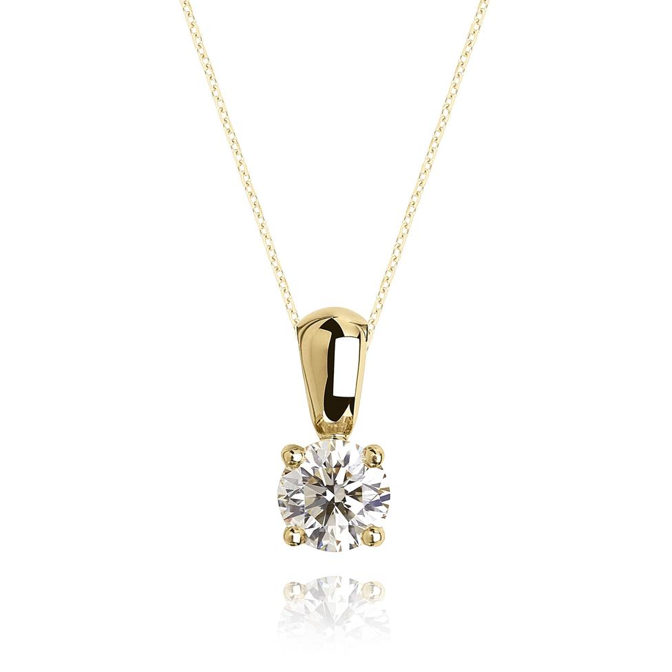 18ct Yellow Gold Classic Design Diamond Solitaire Pendant 0.33ct Thumbnail Image 0