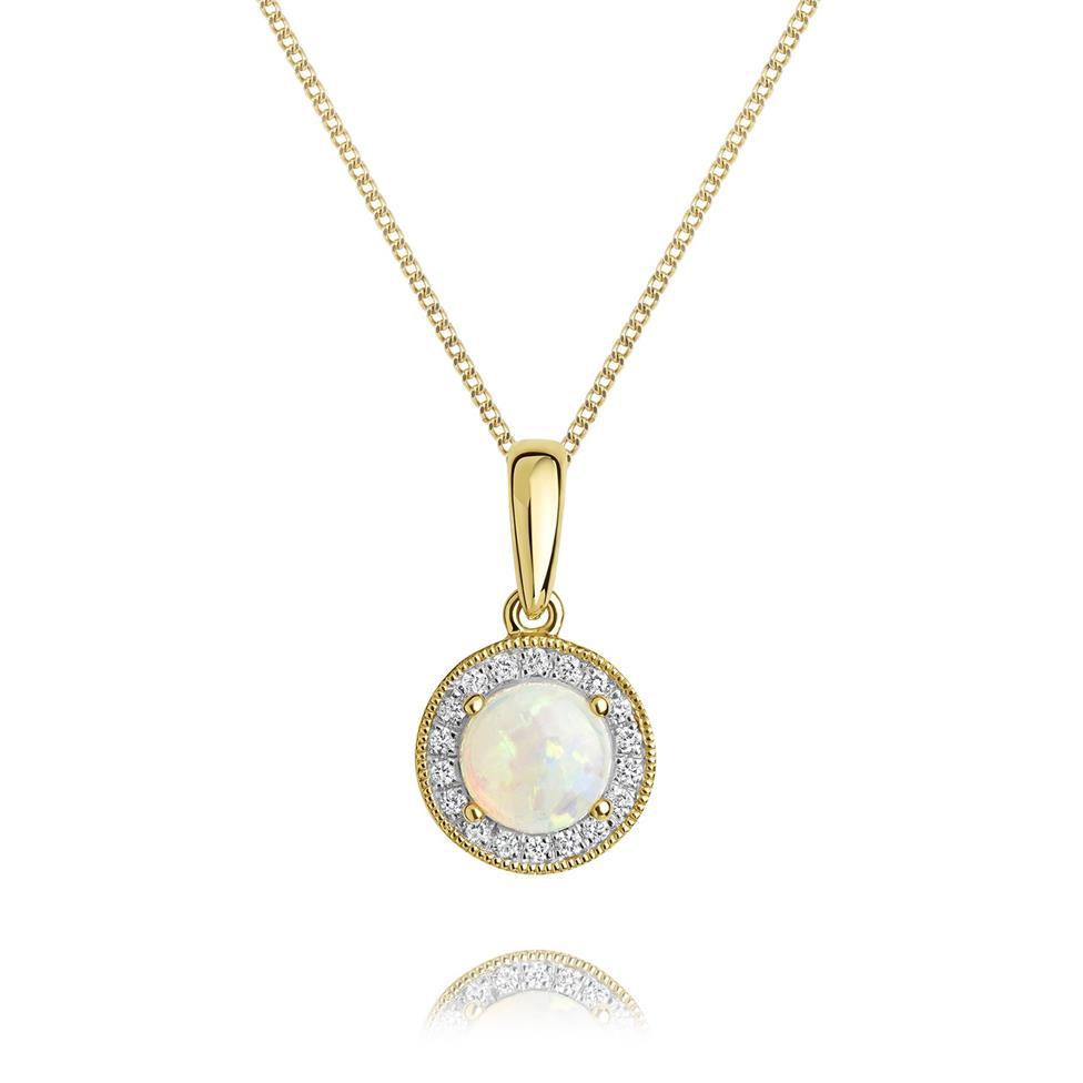18ct Yellow Gold Opal and Diamond Halo Pendant Thumbnail Image 0