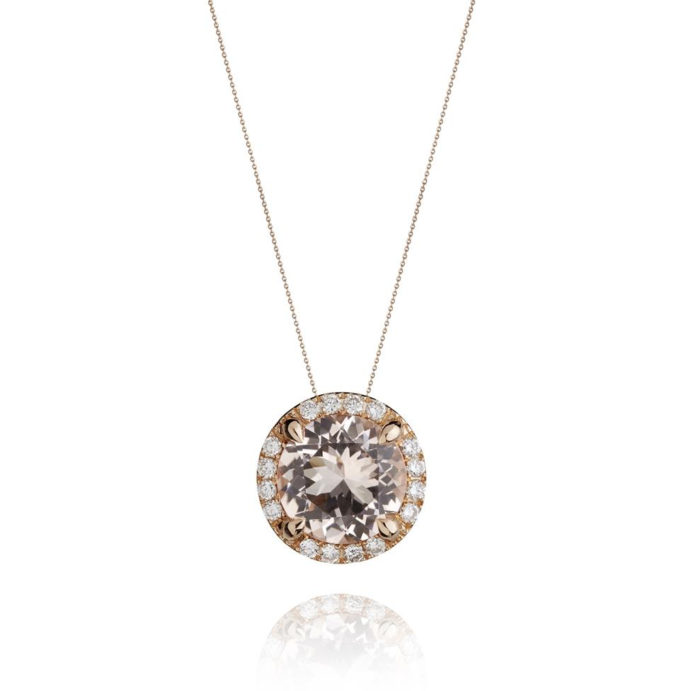 Camellia 18ct Rose Gold Morganite and Diamond Halo Pendant Image 1