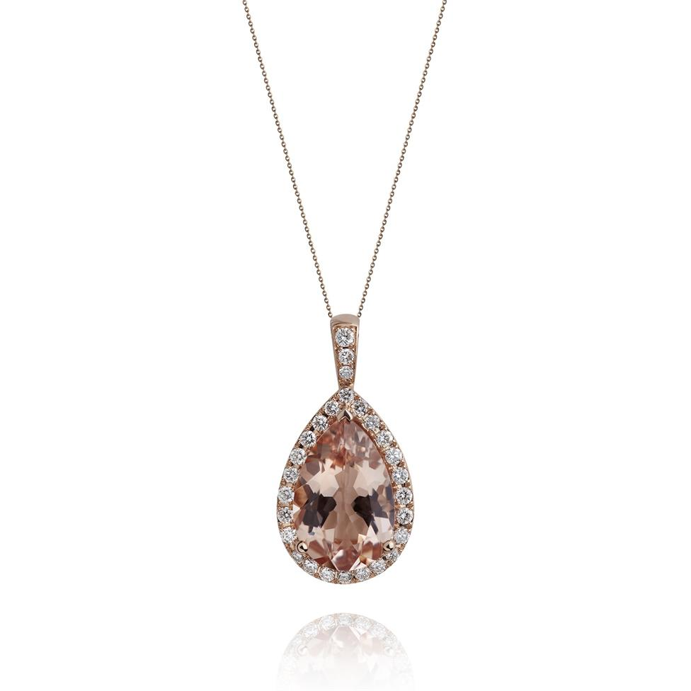 Ortensia 18ct Rose Gold Morganite and Diamond Pendant Image 1