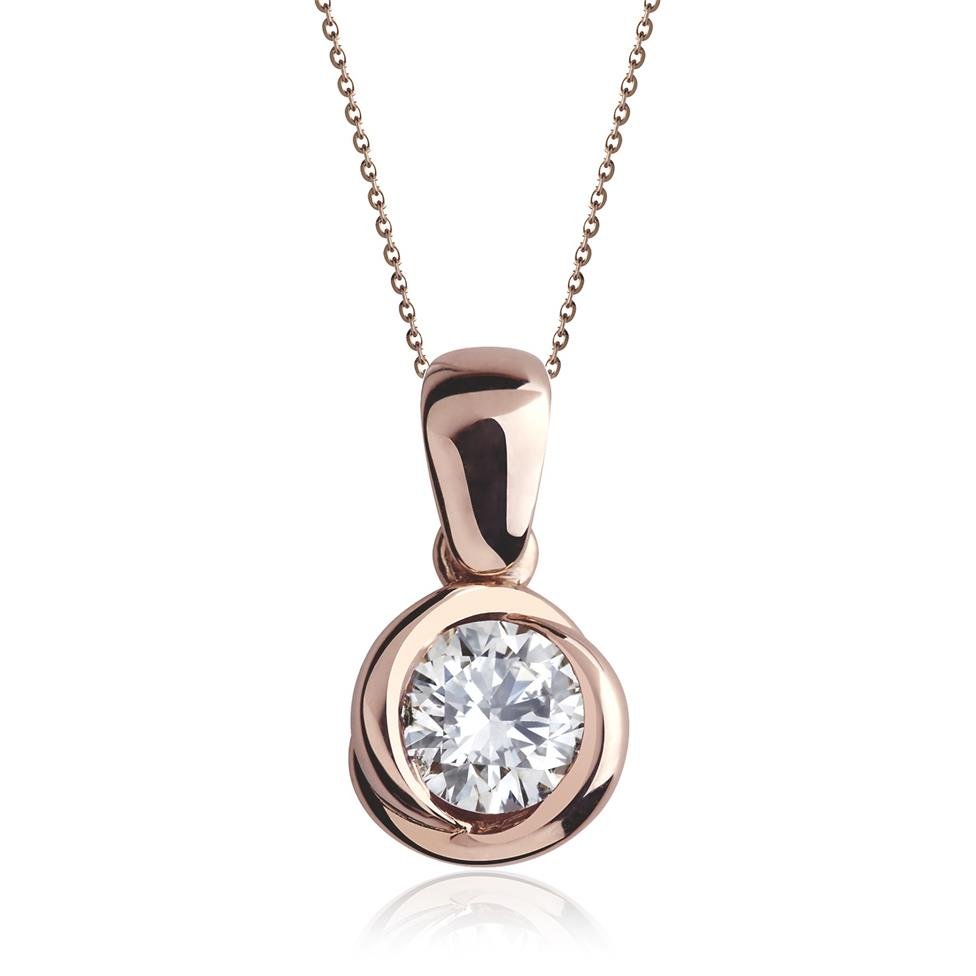 18ct Rose Gold Rosebud Solitaire Diamond Pendant Image 1