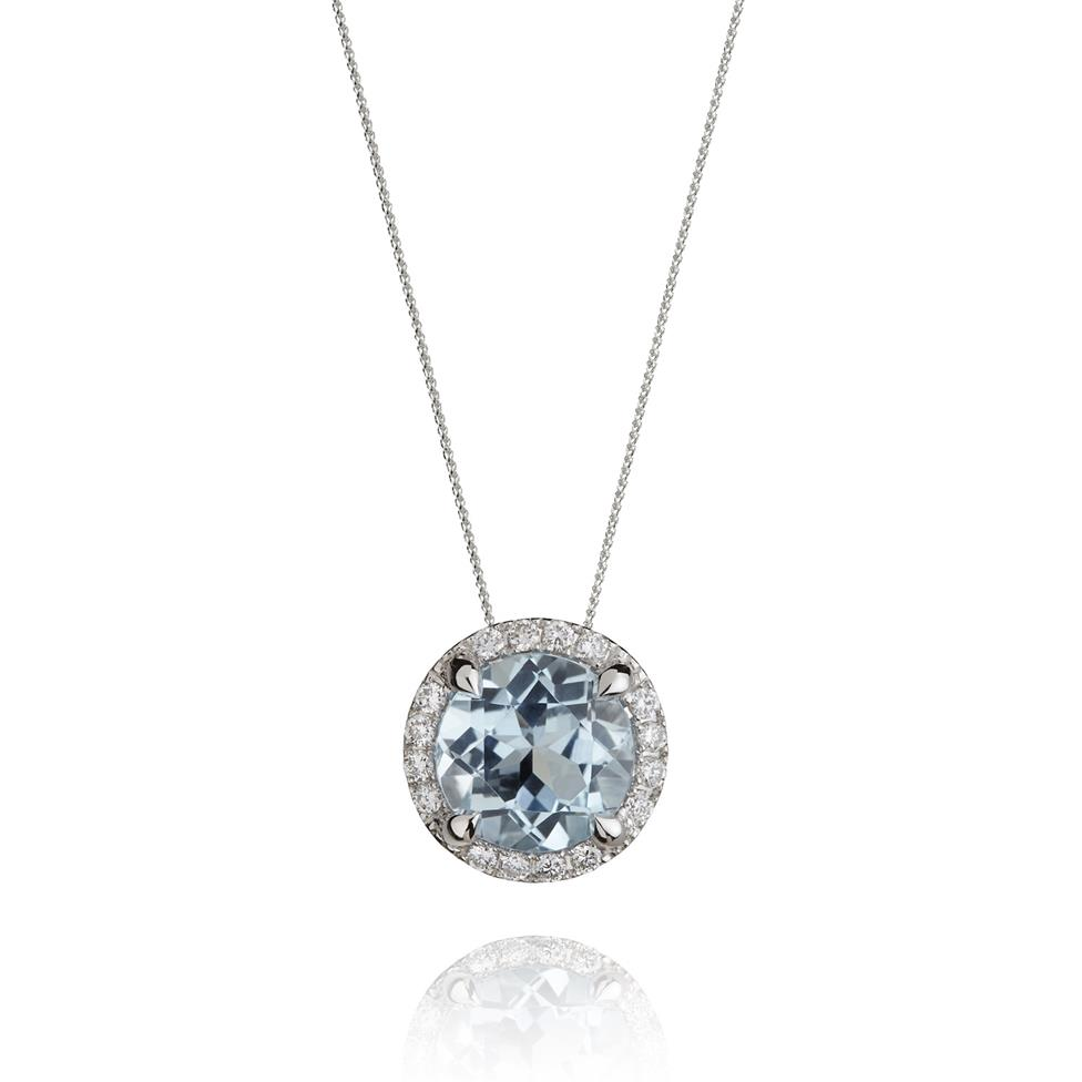 Camellia 18ct White Gold Topaz and Diamond Halo Pendant Image 1
