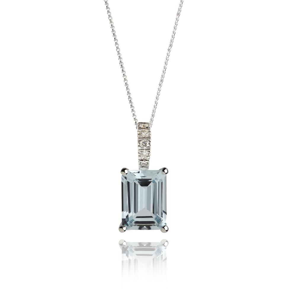 18ct White Gold Aquamarine and Diamond Pendant Thumbnail Image 0