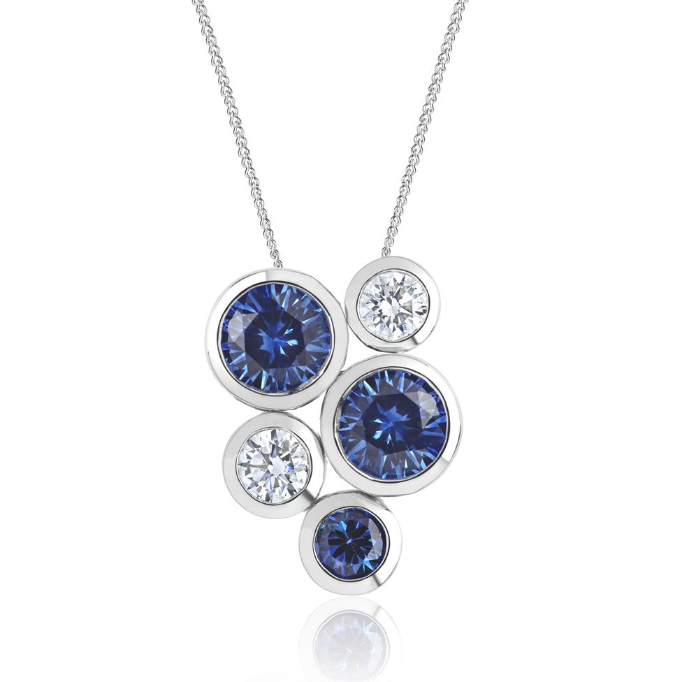 Alchemy 18ct White Gold Sapphire and Diamond Pendant - Large Thumbnail Image 0