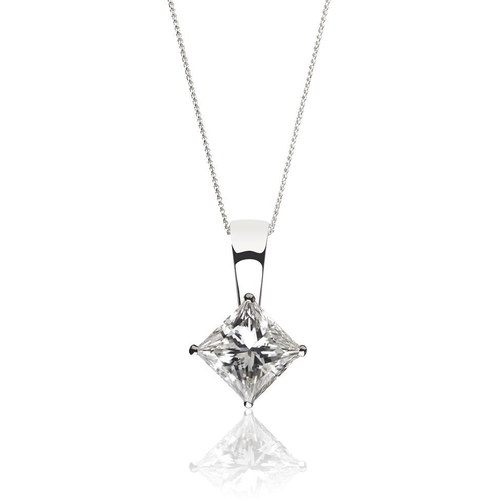 18ct White Gold Princess Cut Diamond Solitaire Pendant 0.50ct Thumbnail Image 0