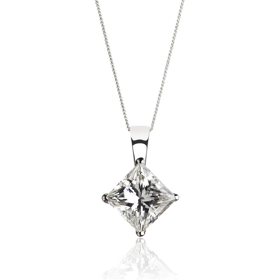 18ct White Gold Princess Cut Diamond Solitaire Pendant 0.25ct Thumbnail Image 0