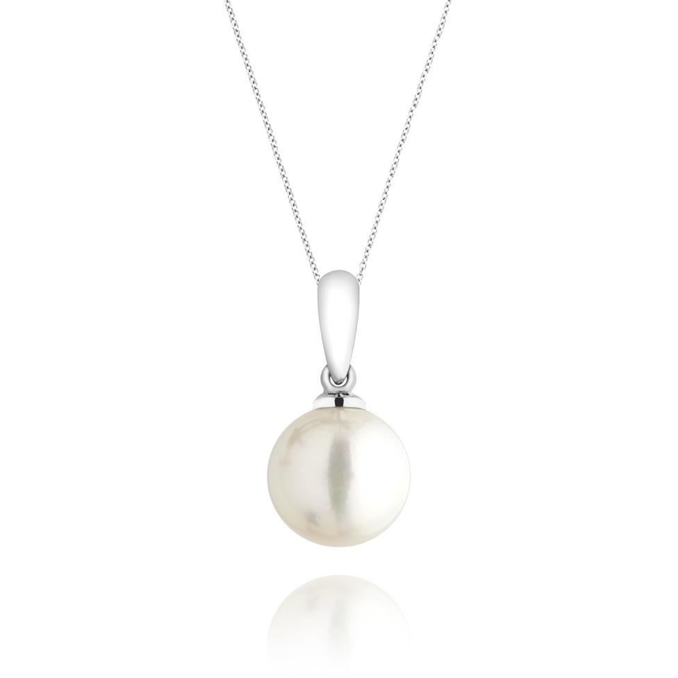 18ct White Gold Akoya Pearl Pendant 8.5mm Thumbnail Image 0
