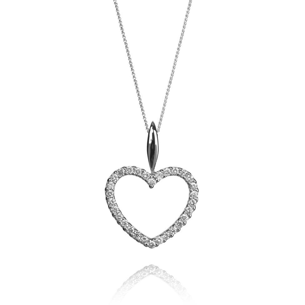 18ct White Gold Open Diamond Heart Pendant 0.15ct Thumbnail Image 0