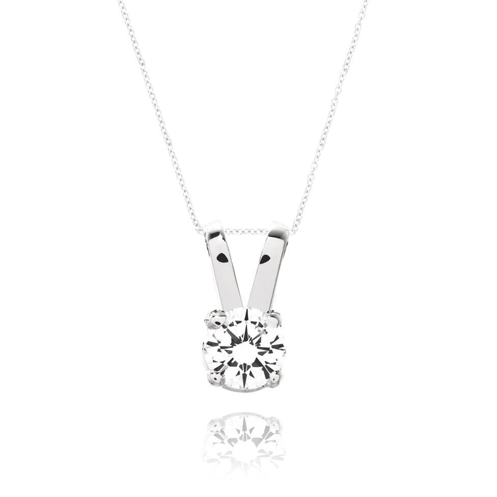 18ct White Gold Classic Design Diamond Solitaire Pendant 0.15ct Thumbnail Image 0