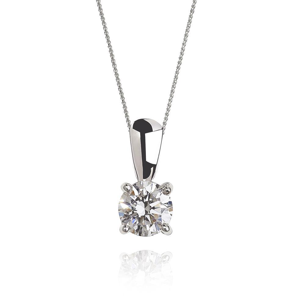 18ct White Gold Classic Design Diamond Solitaire Pendant 0.25ct Thumbnail Image 0