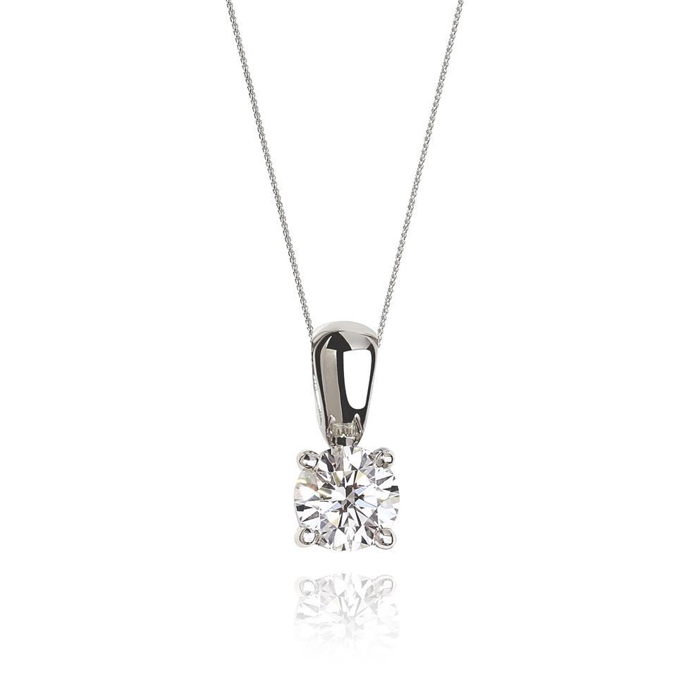 18ct White Gold Classic Design Diamond Solitaire Pendant 0.60ct Thumbnail Image 0